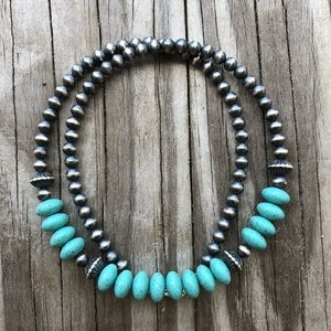 Jewelry - Sterling Desert Pearl & Turquoise Necklace 16 Inch